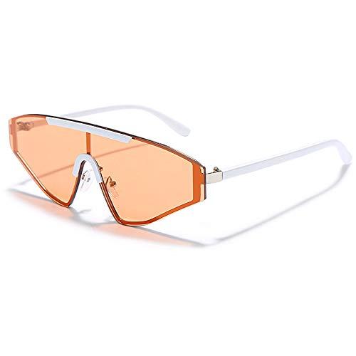 QWKLNRA Gafas De Sol para Hombre Lente Naranja De Marco Blanco Polarizado Deportes Gafas De Sol Sin Bordes De Gran Tamaño Mujeres Gafas De Sol De Una Sola Pieza Ojo De Gato Hombres Damas Uv400 Gafa