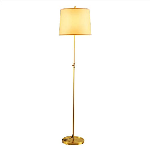 HKLY LED Stehlampe Wohnzimmer, Moderne E27 Stehleuchte, Classic Messing Standleuchte with Lampenschirm Aus Stoff Höhenverstellbar Gold Bodenlampe Deko Für Wohnzimmer, Schlafzimmer, Büro