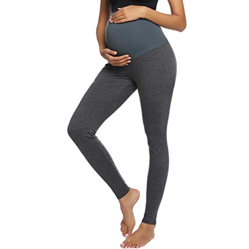 Women's Maternity Basic Stretch Full Length/Crop Capri/Short Secret Fit Belly Leggings Pants by Maacie