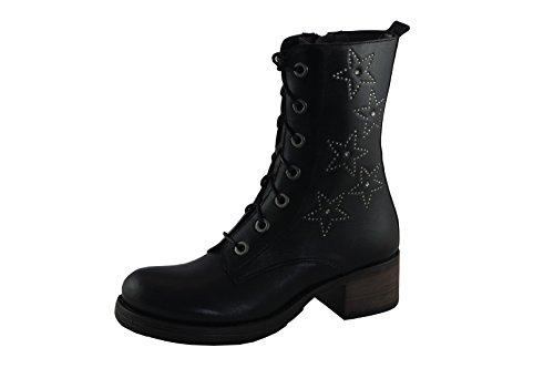 Brako Damen Stiefeletten 8307 schwarz Teki Taylor Leder Strasssterne Profil Gummisohle Größe 40