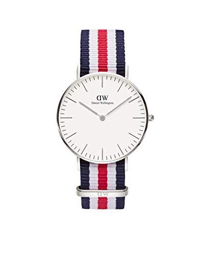 Daniel Wellington Classic Canterbury, Blau-Weiß-Rot/Silber Uhr, 36mm, NATO, für Damen und Herren
