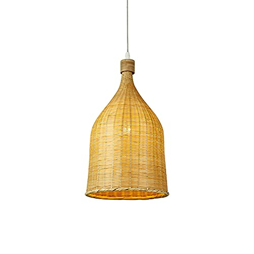 TTBDDDYH Retro Country Bamboo Colgante de luz Iluminación Tejida a mano Sombra de botella Lámpara colgante de mimbre Estilo japonés E27 Candelabros tejidos con cordón ajustable para sala de estar Dorm