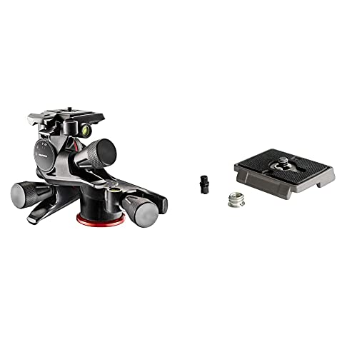 Manfrotto MHXPRO-3WG, XPRO Geared 3 Way Pan/Tilt Head, compatible with DSLR, Compact System Camera, Mirrorless, Spotting Scope, Aluminium Black & 200PL, Quick Release Plate with 1/4 Inch Screw