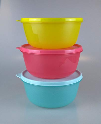 Tupperware Kühlschrank Clarissa 1,5 L Panorama Hit-Parade Schüssel (3) hellblau, rosa, gelb