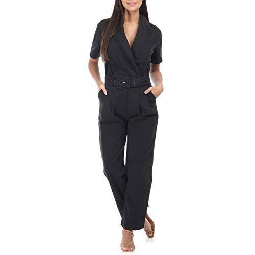 La Modeuse - Combinaison Pantalon en Jean Oversize à Manches Courtes