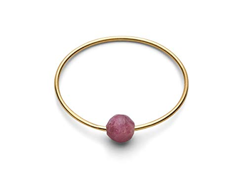 JUKSEREI Anello da donna in oro – Anello di nascita/anello di compleanno, anello Birthstone per ogni mese di gennaio – dicembre e Placcato oro, 54 (17.2), colore: luglio, cod. CH424-R7g