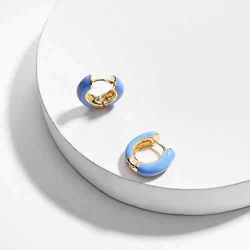 RFEGEF Orecchino A Perno Donna,Moda Tiny Baby Blue Round Circle Orecchino Punk Geometrico Vintage Party Wedding Jewelry Gift