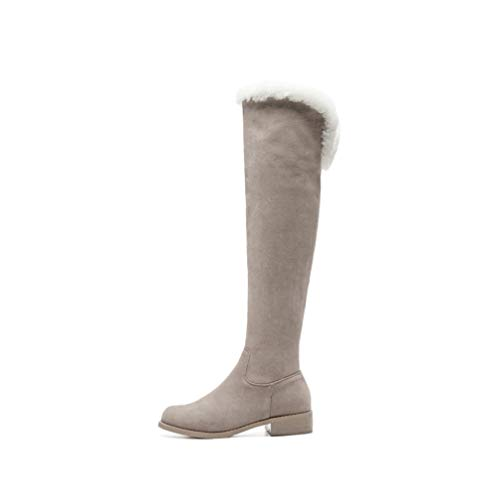 Hoxekle Suede Knee High Boots Women Pointed Toe Autumn Winter Boots Square Heels Dress Shoes Woman Boots Grey