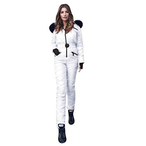 Lazzboy Skianzug Damen Schneeanzug Skioverall Skifahren Skianzüge Overall Jumpsuit Snowboard Skisuit Einteiliger Hoodie Winter Warme Schnee Outdoor Sports Ski Anzug ( Weiß,L )