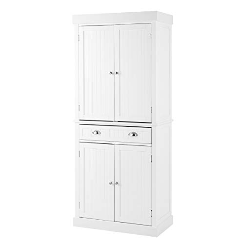 """YOLENY Kitchen Pantry, 72"""" Freestanding Storage Cabinets with Doors and Shelves, Elegant Colonial Design Cabinet Cupboard with 3 Adjustable Shelves and 1 Storage Drawer,White"""