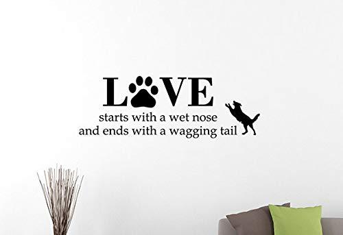 Liebe beginnt mit einer nassen Nase Zitat Wandtattoo Haustier Pfoten Hund Vinyl Aufkleber Home Interior Dekorationen Tierkunst Welpenzimmer Schlafzimmer Dekor 17qz