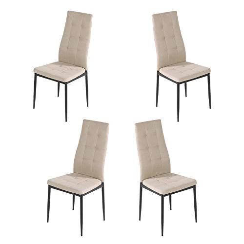 Brigros - Sedie di Tessuto Milano - Set da 4 Sedie Design per Sala da Pranzo, Sedie da Cucina, Ufficio, Sala d'Attesa, Camera da Letto (Beige)