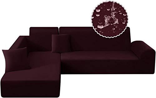 Mazu Homee Juego de sofá impermeable de 2 L, 2 sofás elásticos, de fibra de poliéster en forma de L, 3 + 3 asientos (gris plomo)