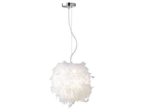 Opvallende bal-hanglamp wit, Ø 38 cm, echte veren, met LED