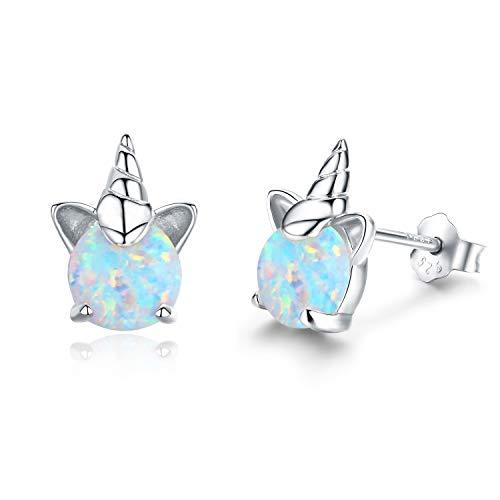 Ohrringe Mädchen Einhorn Ohrstecker Silber 925 Ohrringe Damen Opal Schmuck Geburtstagsgeschenk Geschenke für Frauen Kinder(A-Silber)