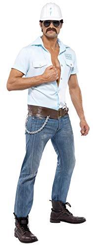 Smiffys Licenciado oficialmente Costume de chantier Village People, Noir, avec chemise, casque, ceinture et lune