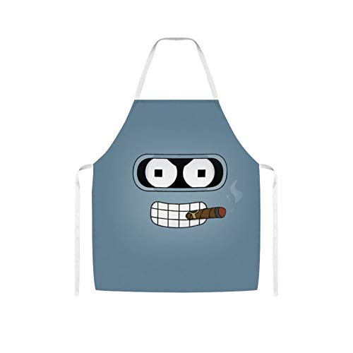 Ives Jean Apron Bib Apron Waterproof Oil-proof Cooking Kitchen for Women Men Futurama Robot Head Bib Apron for Barbecue