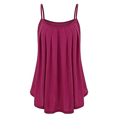 Blusa sin Mangas con Pliegues Sólidos de Gasa Suelta de Verano para Mujer Camisola Casual