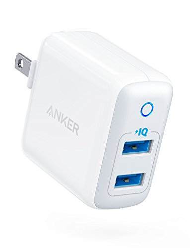 Anker Dual USB Wall Charger, PowerPort II 24W, Ultra-Compact Travel Charger with PowerIQ Technology and Foldable Plug, for iPhone XS/Max/XR/X/8/7/6/Plus, iPad Pro/Air 2/mini 4, Galaxy S9/S8/+ and More