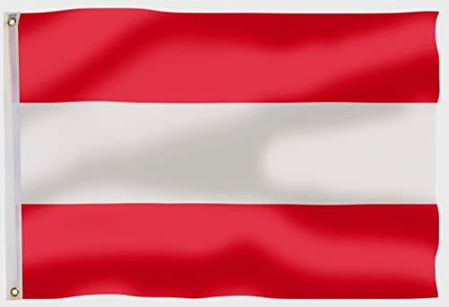 aricona Österreich Flagge - Fahne Österreich 90x150 cm mit Messing-Ösen - Wetterfeste Fahne für Fahnenmast - 100% Polyester