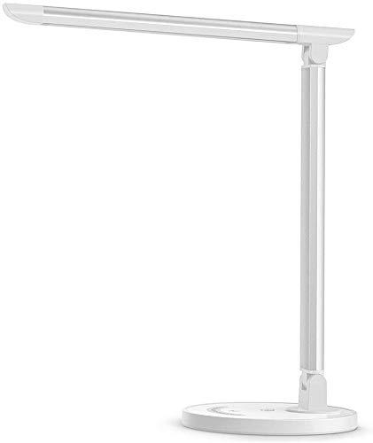 Lampe de Bureau LED, Lampe de 7 Niveaux de Luminosité Ajustable Contrôle Tactile Protection des Yeux et de 5 Modes de Couleur, avec 1 Port Chargeur USB pour Charger Smartphone
