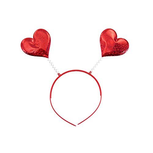 Oblique Unique® Herz Haarreifen mit 2 Herzen in Rot und Glitzereffekt als Fasching Karneval Motto Party Kostüm Accessoire