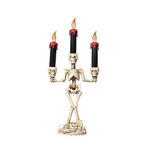 Skeleton Skull Candlesticks Holder LED Candle Holder Halloween Table Decoration Props