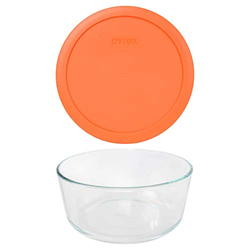 Pyrex (1) 7203 7 Cup Glass Dish & (1) 7402-PC 6/7 Cup Orange Lid
