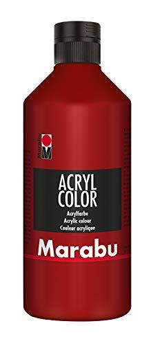 Marabu Color Rojo rubí, 500 ml, cremosa Pintura acrílica a Base, Secado rápido, luz, Resistente al Agua, para aplicar con Pincel y Esponja sobre Lienzo, Papel y Madera
