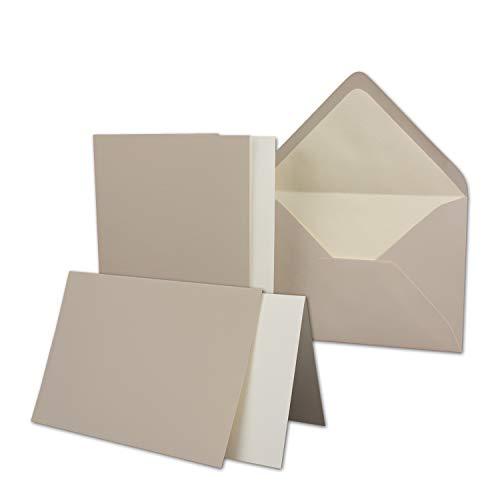 50 Sets - großes Kartenpaket mit 50 Faltkarten, passenden Einlegeblättern in creme & 50 gefütterten Umschlägen (gerippt) DIN B6-12 x 17 cm - 120 x 170 mm in Taupe