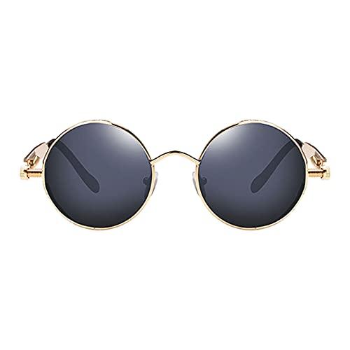 SM SunniMix Gafas de sol de círculo Steampunk Retro góticas de moda para mujeres y hombres montura de Metal de lente redonda, protección UV - Gold Gray