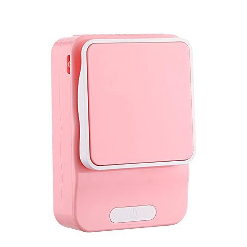 ventilador pequeño,Ventilador pequeño multifuncional para estudiantes perezosos con carga USB, cordón para soporte de cintura al aire libre mini ventilador-rosa