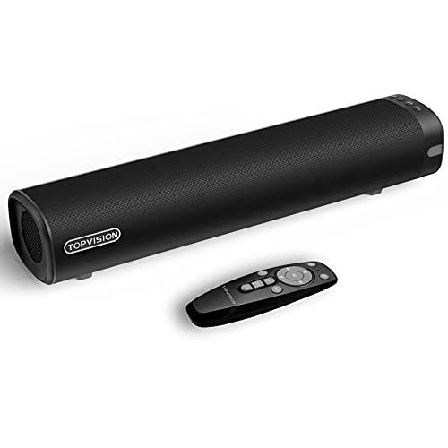 Soundbar, TOPVISION 2.0 Kanal Soundbars für TV Geräte, 3 Equalizer-Modi, 50W Wireless Bluetooth 5.0-Lautsprecher, Mini-Soundbar mit integriertem DSP,für optische/Aux/USB-Verbindung