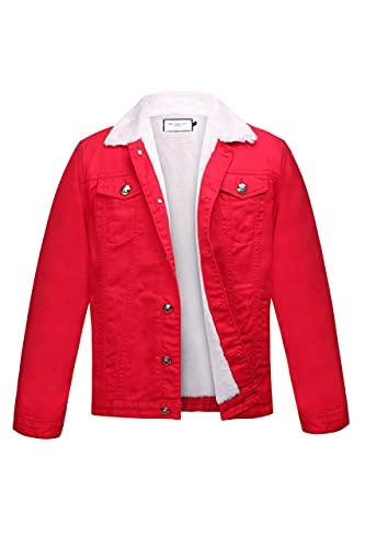 Chaqueta de mezclilla roja bordada con piel sintética