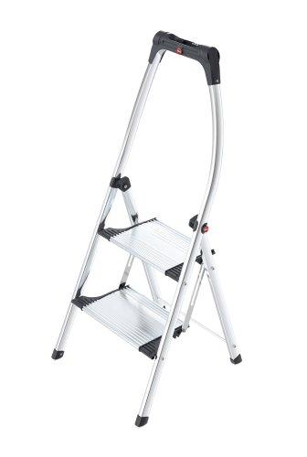Hailo K100 TopLine, Komfort-Trittleiter aus Aluminium, 2 Stufen, hoher Sicherheitshaltebügel, Füße mit Soft-Grip-Sohlen, belastbar bis 150 kg, silber, 4302-301