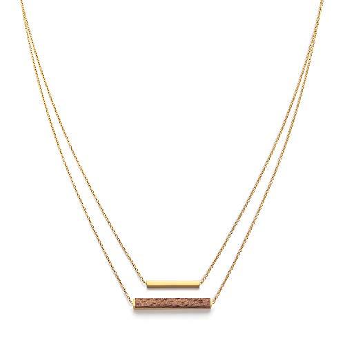 Kerfhout dames houten sieraden – Geometrics collectie rechthoekige ketting met hanger gemaakt van natuurlijk hout, goud, in grootte verstelbaar (ketting lengte 38 + 5 cm)