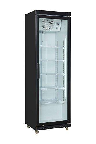 Gewerbe-Kühlschrank 197,5 x 61 x 63,5 cm schwarz | Getränkekühlschrank, Flaschenkühlung, Bierkühlung | Glastür-Kühlschrank mit XXL Stauraum | Gastronomie Kühlschrank mit hohem Kühlvolumen 425 Liter