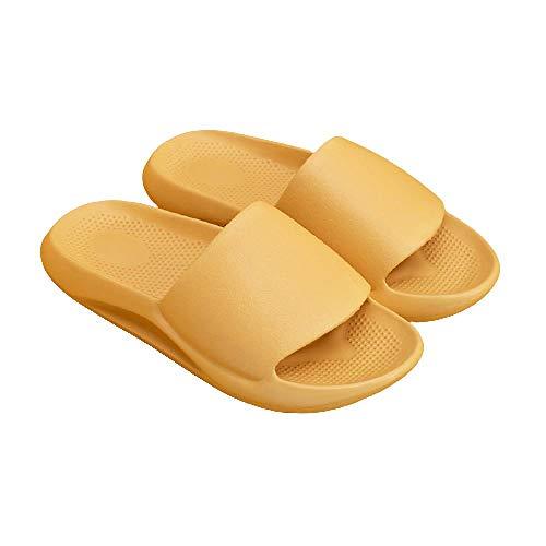 XZDNYDHGX Zapatos De Playa Y Piscina Mujer,Zapatillas de Interior Suaves y cómodas para Mujer, baño Antideslizante, Zapatos para el hogar, Diapositivas Planas, Sandalias para Mujer, Beige, UE 35-36
