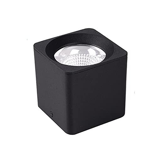 Crcrbg LED Europeo y Americano de un Solo Cabezal sin Foco Principal, luz empotrada montada en Superficie Cuadrada en Blanco y Negro, luz cálida, luz empotrada de protección Ocular resaltada