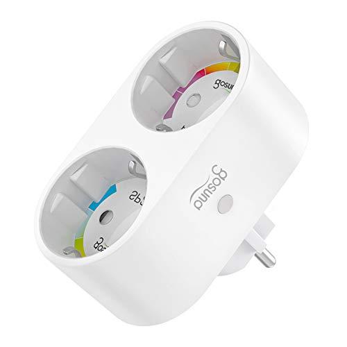 Smart WLAN Steckdose, Alexa Steckdose Plug 2 in 1, Stromverbrauch messen Fernbedienung Timer Steckdosenverteiler, funktionieren mit Alexa Google Home, nur 2.4 GHz WIFI