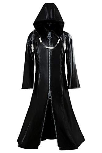 Wecos Erwachsenen-Königreich Organisation Rollenspiel-Herzen Roxas Mantel Halloween Lange Lederjacke Cosplay Kostüm - Schwarz - Large