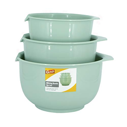 Glad Mixing Bowls with Pour Spout, Set of 3 | Nesting Design Saves Space | Non-Slip, BPA Free, Dishwasher Safe | Kitchen Cooking and Baking Supplies, Sage Green
