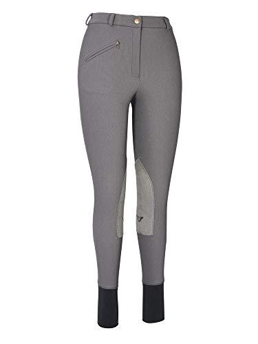 TuffRider Women's Ribb Knee Patch Breeches (Regular), Dark Charcoal, 28