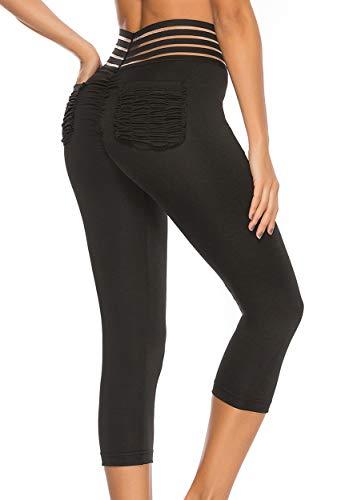 FITTOO Mallas 3/4 Leggings Mujer Pantalones de Yoga Alta Cintura Elásticos y Transpirables Negro S