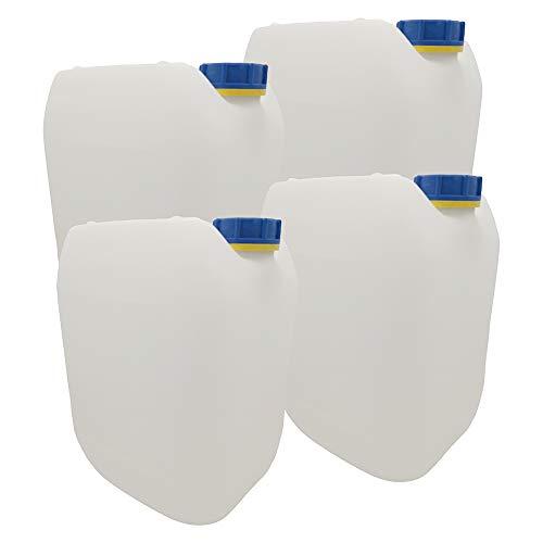Männerladen 4 x 10L Getränke- Wasserkanister Natur | Premium Qualität DIN 51 | Lebensmittelecht Hergestellt in DE mit UN-Zulassung Tragbar Indoor und Outdoor