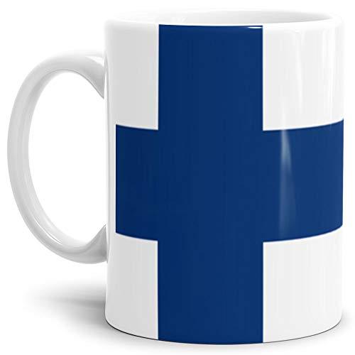 Tassendruck Flaggen-Tasse/Souvenir/Urlaub/Länder-Fahne/Kaffetasse/Mug/Cup - (Finnland, Normal)