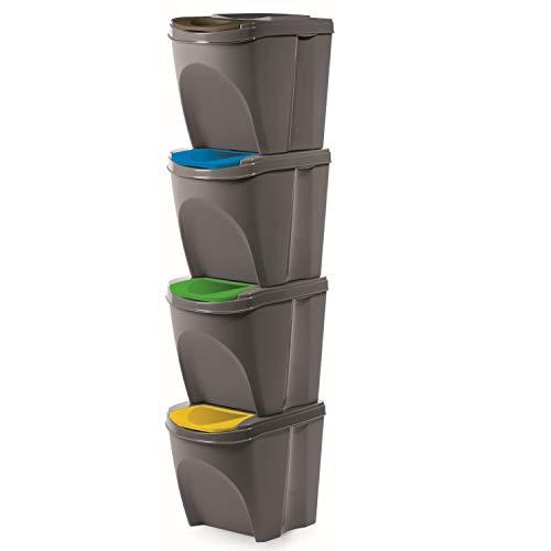 Mülleimern Sorti Box Mülltonne Müllsäcke Abfall Segregation (Grauer Stein, 4 x 20 L)