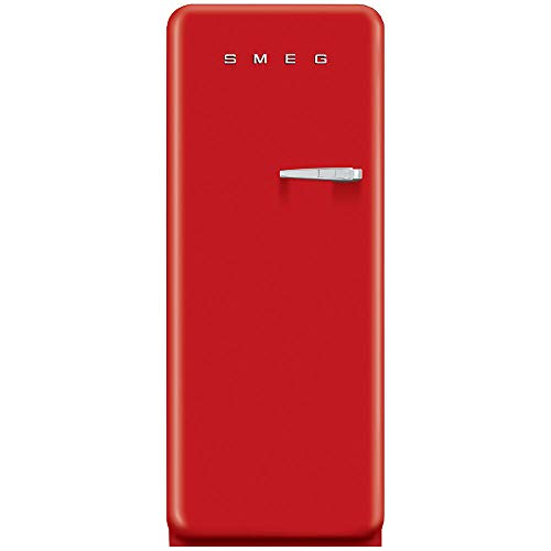 """Smeg FAB28URDL1 24"""" 50's Style Top-Freezer Refrigerator with 9.22 Cu. Ft. Capacity, Ice Compartment, Interior Light, Adjustable Glass Shelves and Bottle Storage in Red: Left hinge"""