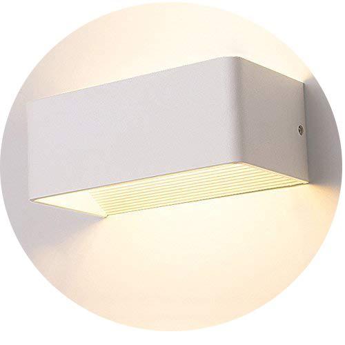 Topmo-plus Applique da parete 7W LED Lampada da parete in alluminio bianco Angolo del fascio di 180 gradi lampadine interne Bianco caldo 3000K (20 CM bianco)