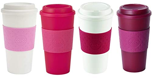 Copco Acadia Reusable To Go Mug, 16-ounce Capacity - 4-pack (Bubble Gum, Pink, Cherry Red, Marsala)